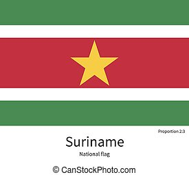 National flag of Suriname with correct proportions, element, colors