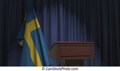 National flag of Sweden and speaker podium tribune. Political event or statement related conceptual 3D animation