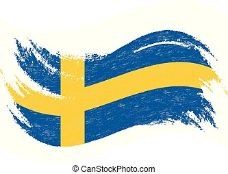 National Flag Of Sweden, Designed Using Brush Strokes,Isolated On A White Background. Vector Illustration.