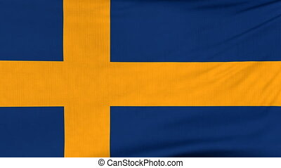 National flag of Sweden flying on the wind - National flag...