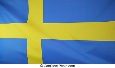 National flag of Sweden moving in the wind