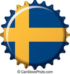 National flag of Sweden on a bottle cap. Vector Illustration