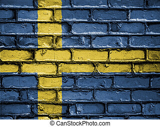 National Flag of Sweden on a Brick Wall