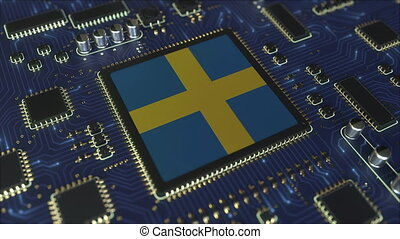 National flag of Sweden on the operating chipset. Swedish information technology or hardware development related conceptual 3D animation