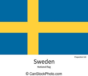 National flag of Sweden with correct proportions, element, colors