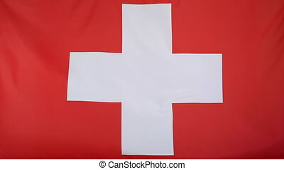 National flag of Switzerland in slow motion