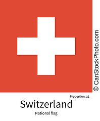 National flag of Switzerland with correct proportions, element, colors
