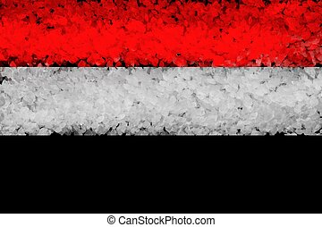 National flag of Syria from thick colored on a black background