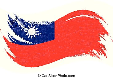 National Flag Of Taiwan, Designed Using Brush Strokes, Isolated On A White Background. Vector Illustration.
