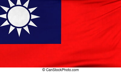 National flag of Taiwan flying on the wind