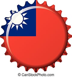 National flag of Taiwan on a bottle cap. Vector Illustration