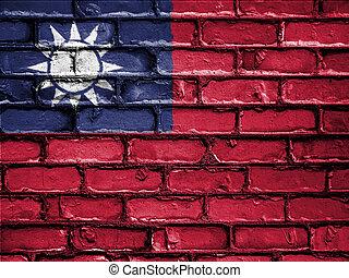 National Flag of Taiwan on a Brick Wall