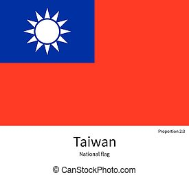National flag of Taiwan with correct proportions, element, colors