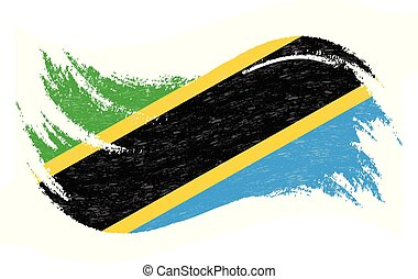 National Flag Of Tanzania, Designed Using Brush Strokes, Isolated On A White Background. Vector Illustration. Use For Brochures, Printed Materials, Logos, Independence Day.