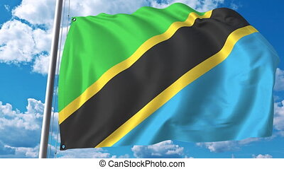 National flag of Tanzania on sky background. 3D animation -...