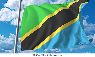 National flag of Tanzania on sky background. 3D rendering