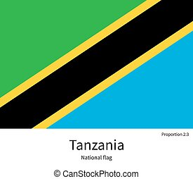 National flag of Tanzania with correct proportions, element, colors