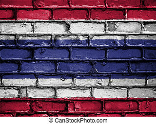 National Flag of Thailand on a Brick Wall