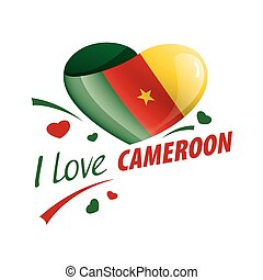 National flag of the Cameroon in the shape of a heart and the inscription I love Cameroon. Vector illustration
