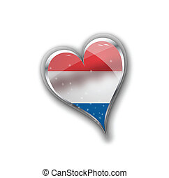 national flag of the Netherlands (Holland) in heart shape with additional details