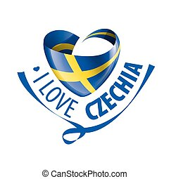National flag of the Sweden in the shape of a heart and the inscription I love Sweden. Vector illustration