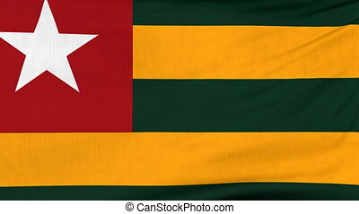 National flag of Togo flying and waving on the wind. Sate symbol of Togolese nation and government. Computer generated animation.