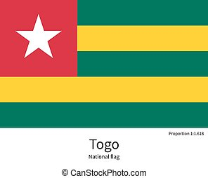 National flag of Togo with correct proportions, element, colors