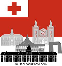 Tonga - National flag of Tonga and architectural attractions...