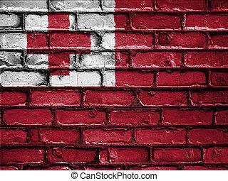 National Flag of Tonga on a Brick Wall