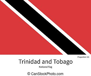 National flag of Trinidad and Tobago with correct...