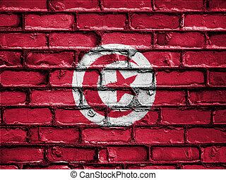 National Flag of Tunisia on a Brick Wall