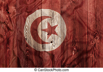 National flag of Tunisia, wooden background