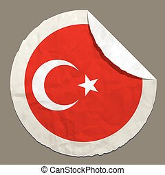 National flag of Turkey on a label