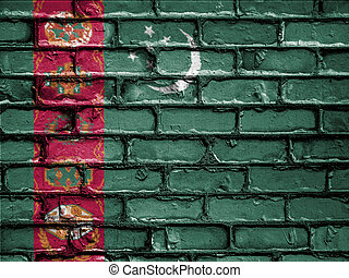 National Flag of Turkmenistan on a Brick Wall