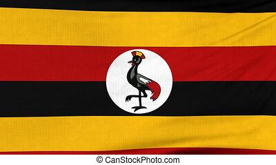 National flag of Uganda flying on the wind