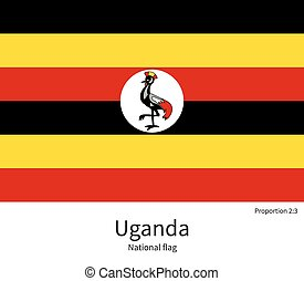 National flag of Uganda with correct proportions, element, colors