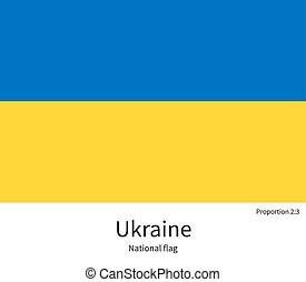 National flag of Ukraine with correct proportions, element, colors