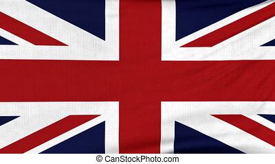 National flag of United Kingdom flying on the wind