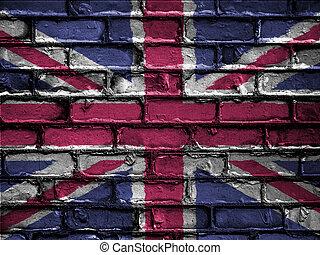 National Flag of United Kingdom on a Brick Wall