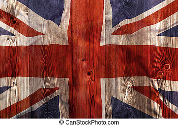 National flag of United Kingdom, wooden background