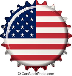 National flag of United States of America (USA) on a bottle cap. Vector Illustration