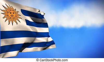 National flag of Uruguay waving in the wind