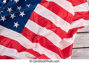 National flag of USA close up.