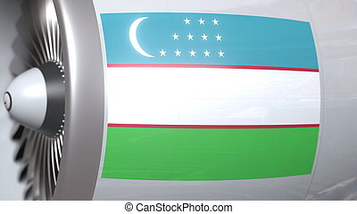 National flag of Uzbekistan on airliner tourbine engine. Aviation related 3D rendering