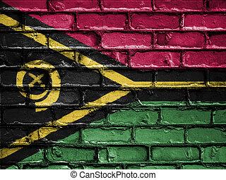 National Flag of Vanuatu on a Brick Wall
