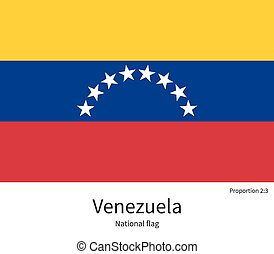 National flag of Venezuela with correct proportions,...