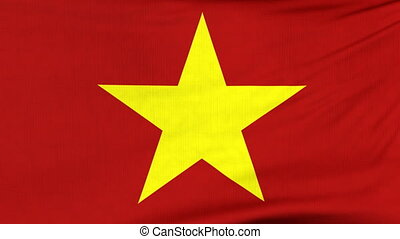 National flag of Vietnam flying on the wind