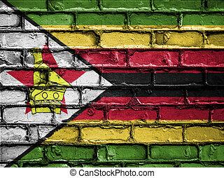 National Flag of Zimbabwe on a Brick Wall