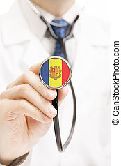 National flag on stethoscope conceptual series - Andorra