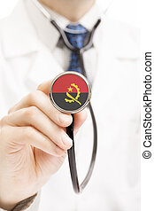 National flag on stethoscope conceptual series - Angola